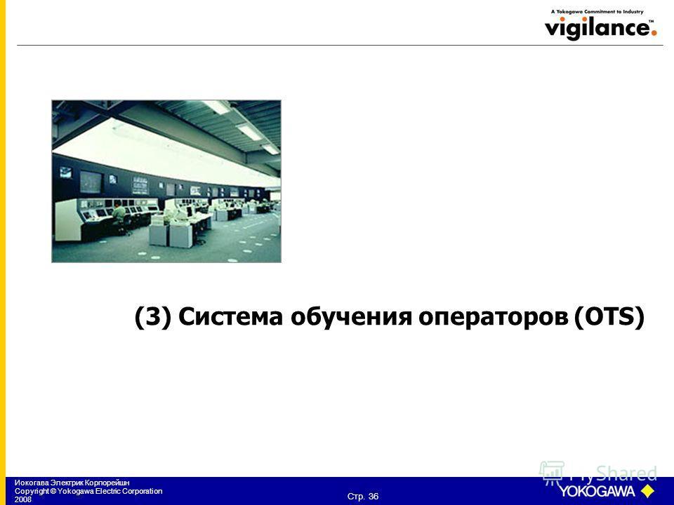 Иокогава Электрик Корпорейшн Copyright © Yokogawa Electric Corporation 2008 Стр. 36 (3) Система обучения операторов (OTS)