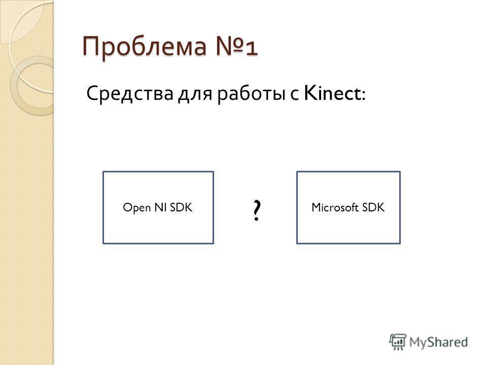 Средства для работы с Kinect: Open NI SDKMicrosoft SDK ?