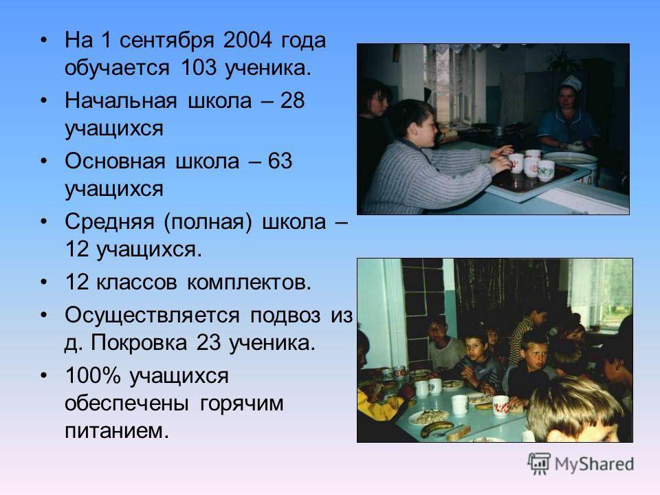 На 1 сентября 2004 года обучается 103 ученика. Начальная школа – 28 учащихся Основная школа – 63 учащихся Средняя (полная) школа – 12 учащихся. 12 классов комплектов. Осуществляется подвоз из д. Покровка 23 ученика. 100% учащихся обеспечены горячим п