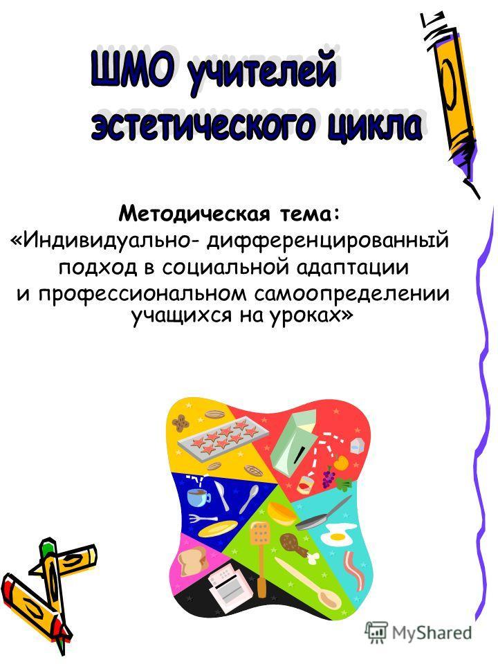 Методическая тема: «Индивидуально- дифференцированный подход в социальной адаптации и профессиональном самоопределении учащихся на уроках»