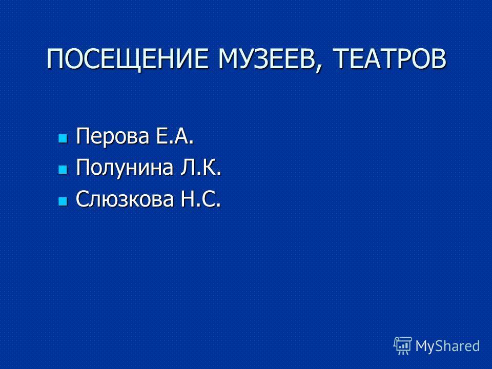 ПОСЕЩЕНИЕ МУЗЕЕВ, ТЕАТРОВ Перова Е.А. Перова Е.А. Полунина Л.К. Полунина Л.К. Слюзкова Н.С. Слюзкова Н.С.