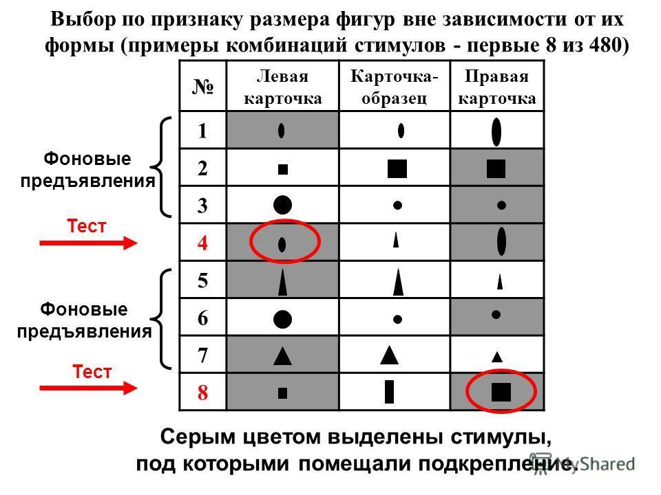 Выбор по признаку размера фигур вне зависимости от их формы (примеры комбинаций стимулов - первые 8 из 480) Левая карточка Карточка- образец Правая карточка 1 2 3 4 5 6 7 8 Серым цветом выделены стимулы, под которыми помещали подкрепление. Тест Фонов