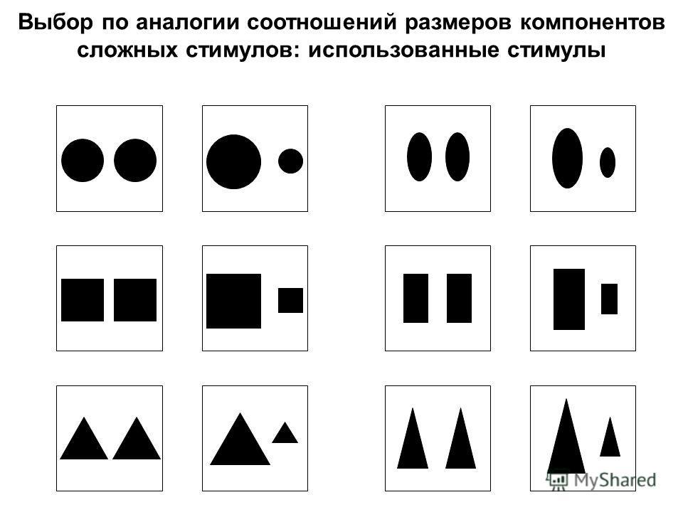 Выбор по аналогии соотношений размеров компонентов сложных стимулов: использованные стимулы