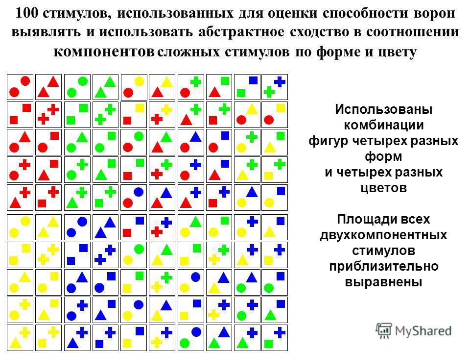 100 стимулов, использованных для оценки способности ворон выявлять и использовать абстрактное сходство в соотношении компонентов сложных стимулов по форме и цвету Использованы комбинации фигур четырех разных форм и четырех разных цветов Площади всех