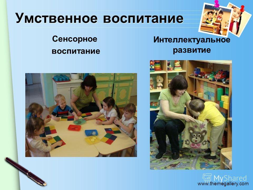 www.themegallery.com Умственное воспитание Сенсорное воспитание Интеллектуальное развитие