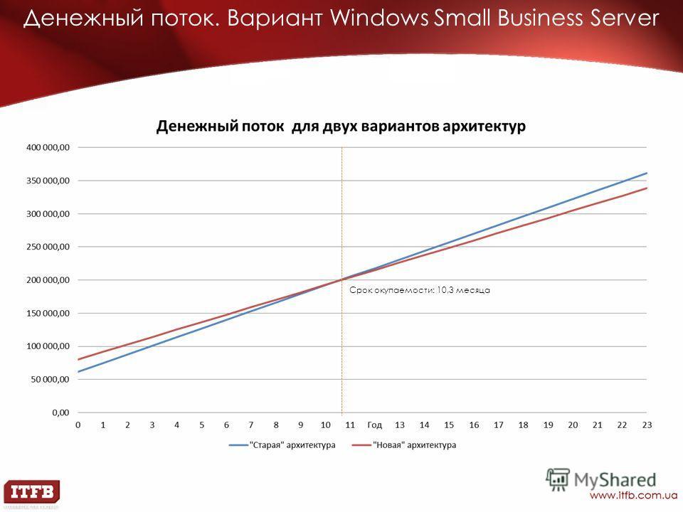 Денежный поток. Вариант Windows Small Business Server Срок окупаемости: 10,3 месяца