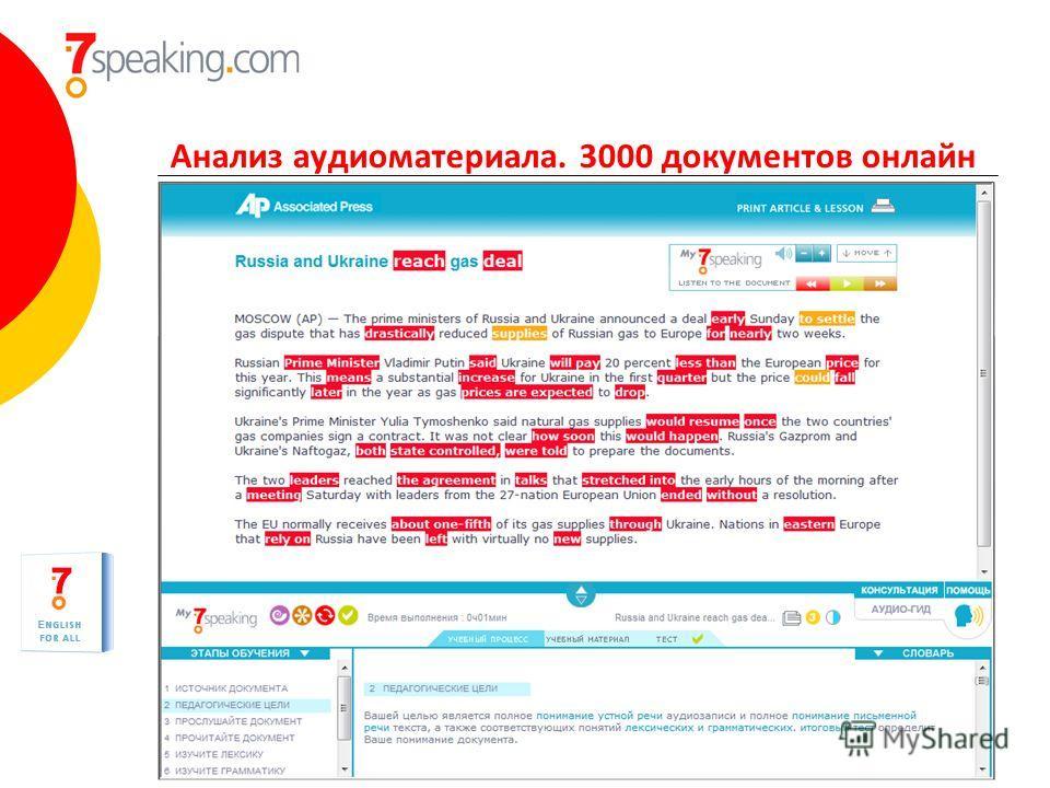 Анализ аудиоматериала. 3000 документов онлайн