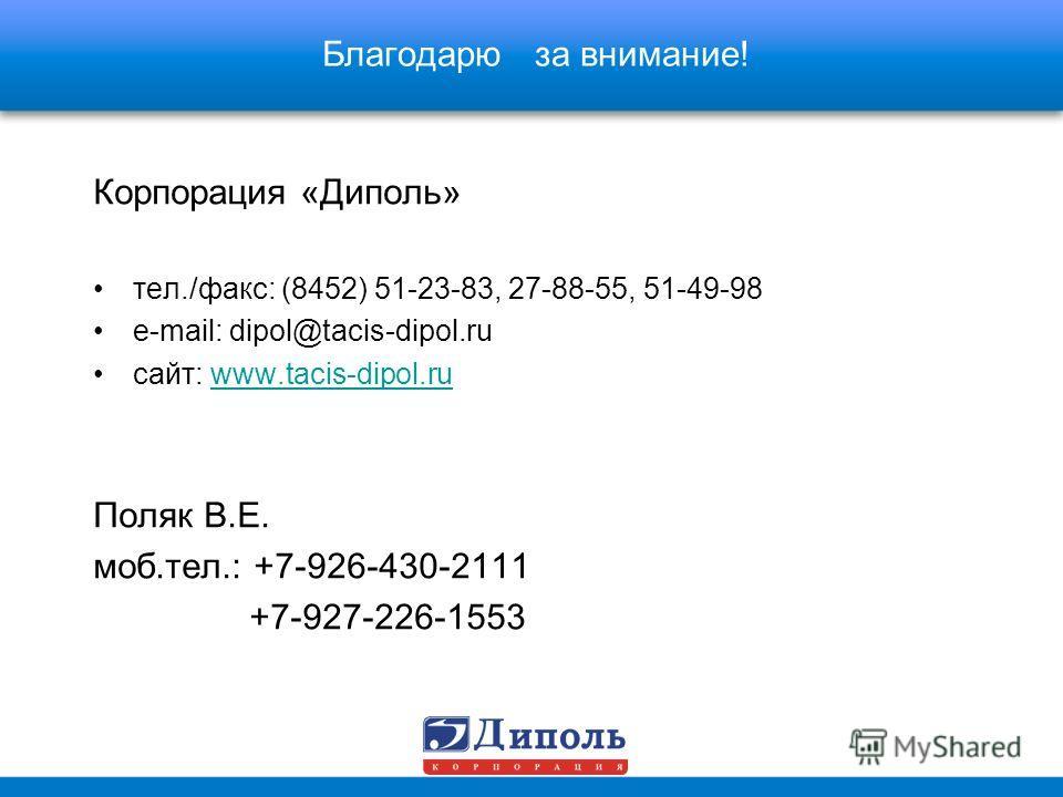Благодарю за внимание! Корпорация «Диполь» тел./факс: (8452) 51-23-83, 27-88-55, 51-49-98 e-mail: dipol@tacis-dipol.ru сайт: www.tacis-dipol.ru Поляк В.Е. моб.тел.: +7-926-430-2111 +7-927-226-1553