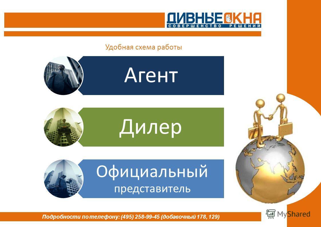 Агент Дилер Официальный представитель Подробности по телефону: (495) 258-99-45 (добавочный 178, 129) Удобная схема работы