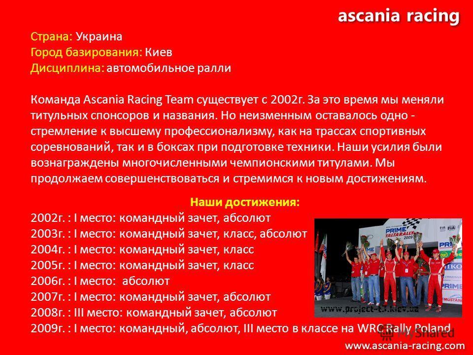 ascania racing Страна: Украина Город базирования: Киев Дисциплина: автомобильное ралли Команда Ascania Racing Team существует с 2002г. За это время мы меняли титульных спонсоров и названия. Но неизменным оставалось одно - стремление к высшему професс