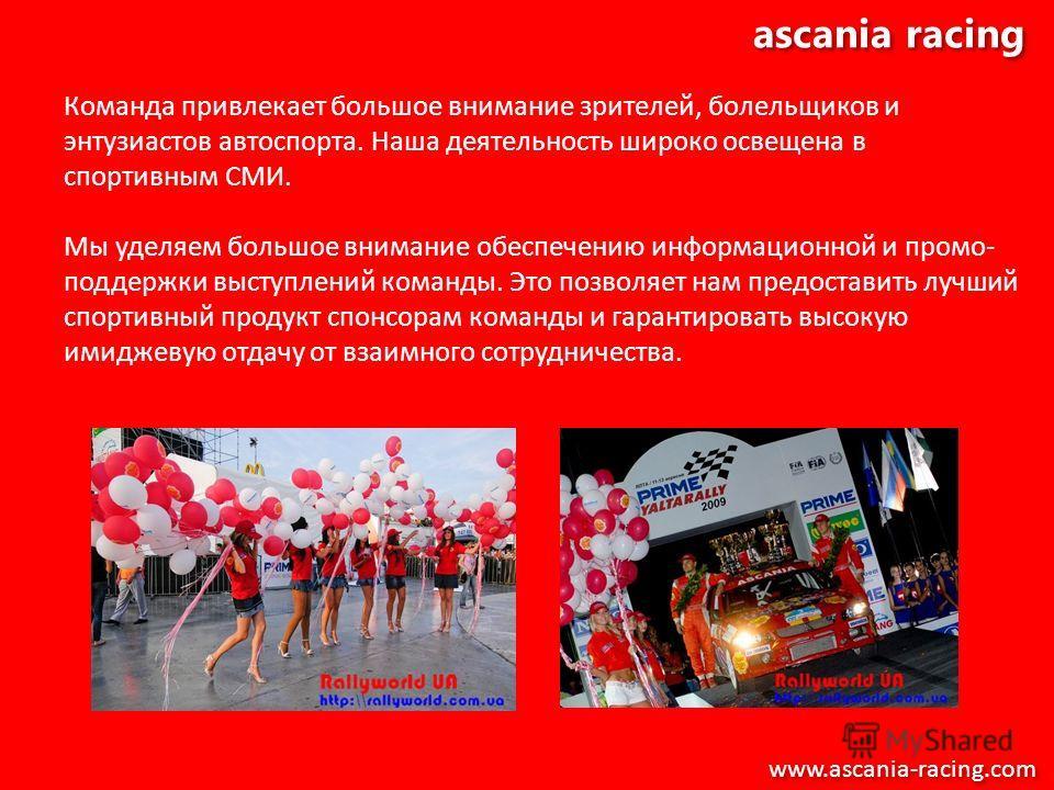ascania racing Команда привлекает большое внимание зрителей, болельщиков и энтузиастов автоспорта. Наша деятельность широко освещена в спортивным СМИ. Мы уделяем большое внимание обеспечению информационной и промо- поддержки выступлений команды. Это