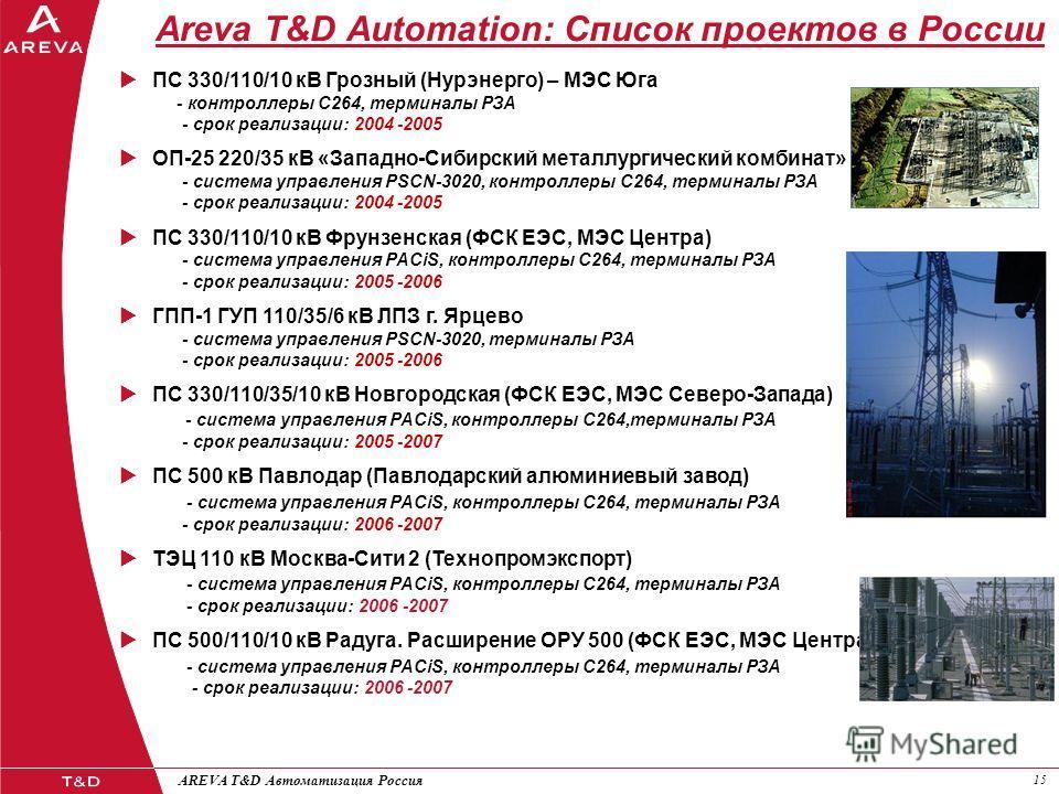 15 AREVA T&D Автоматизация Россия Areva T&D Automation: Список проектов в России ПС 330/110/10 кВ Грозный (Нурэнерго) – МЭС Юга - контроллеры С264, терминалы РЗА - срок реализации: 2004 -2005 ОП-25 220/35 кВ «Западно-Сибирский металлургический комбин