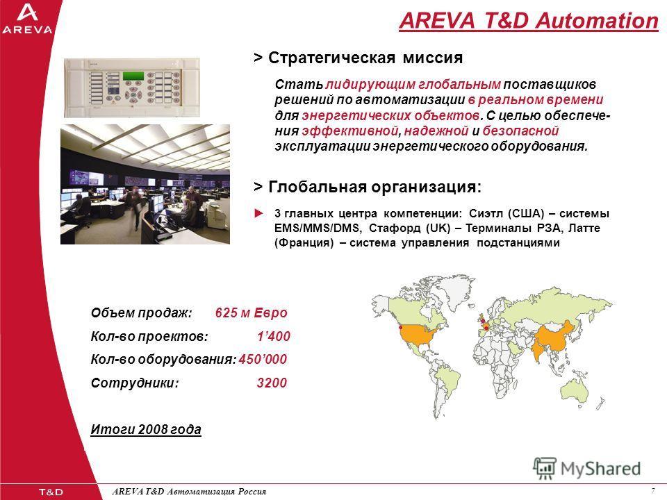 77 AREVA T&D Автоматизация Россия AREVA T&D Automation > Стратегическая миссия Стать лидирующим глобальным поставщиков решений по автоматизации в реальном времени для энергетических объектов. С целью обеспече- ния эффективной, надежной и безопасной э