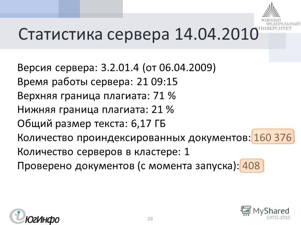 СИТО -2010 Статистика сервера 14.04.2010 28 Версия сервера : 3.2.01.4 ( от 06.04.2009) Время работы сервера : 21 09:15 Верхняя граница плагиата : 71 % Нижняя граница плагиата : 21 % Общий размер текста : 6,17 ГБ Количество проиндексированных документ