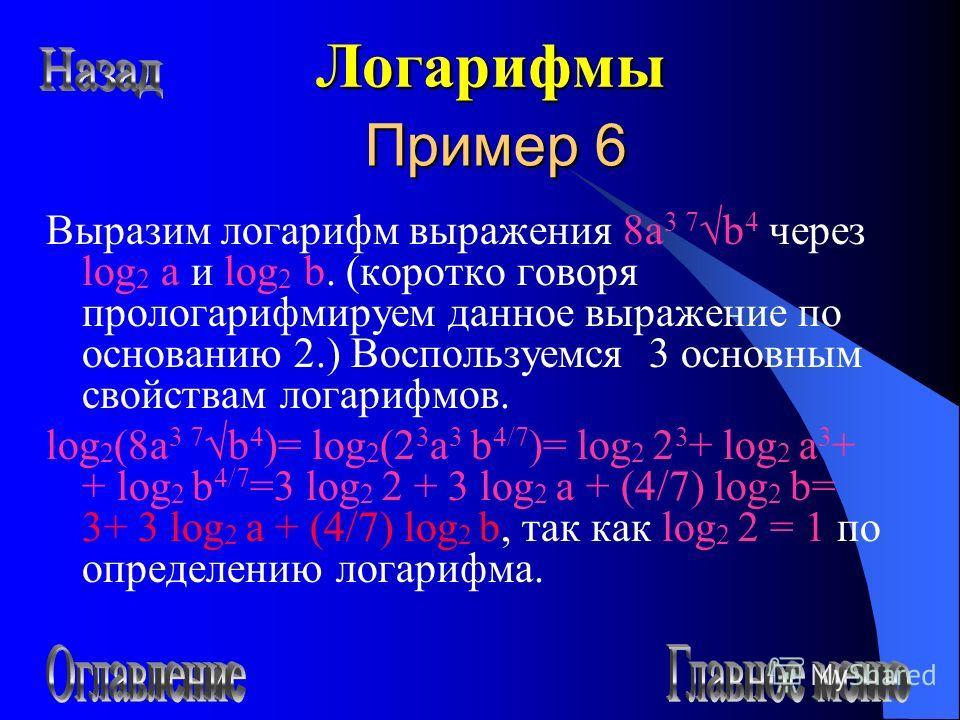 Пример 6 Выразим логарифм выражения 8а 3 7b 4 через log 2 a и log 2 b. (коротко говоря прологарифмируем данное выражение по основанию 2.) Воспользуемся 3 основным свойствам логарифмов. log 2 (8а 3 7b 4 )= log 2 (2 3 а 3 b 4/7 )= log 2 2 3 + log 2 а 3