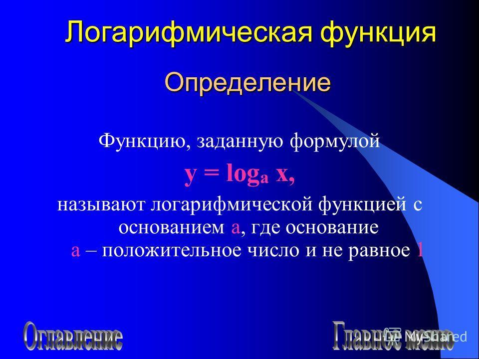 Определение Функцию, заданную формулой y = log a x, называют логарифмической функцией с основанием а, где основание а – положительное число и не равное 1 Логарифмическая функция