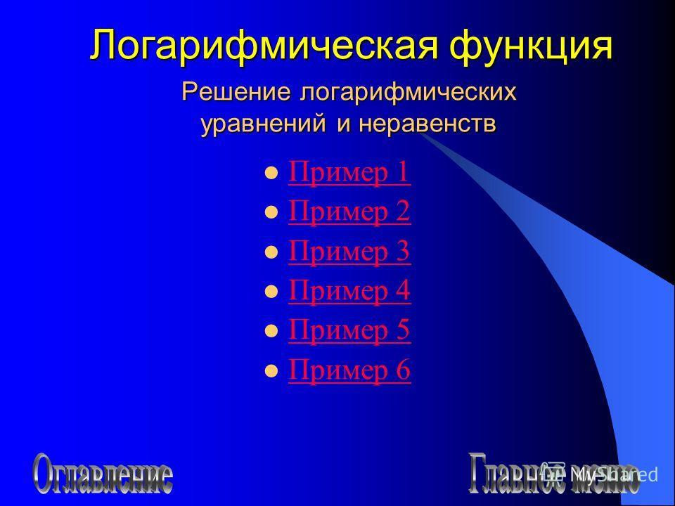 Решение логарифмических уравнений и неравенств Пример 1 Пример 2 Пример 3 Пример 4 Пример 5 Пример 6 Логарифмическая функция