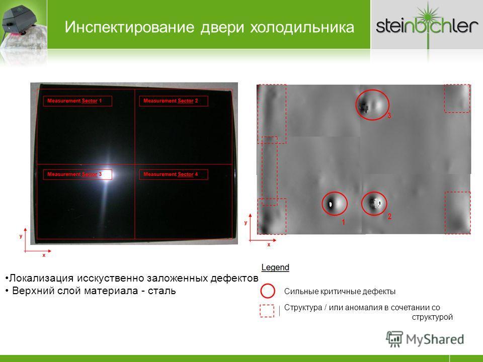 Локализация исскуственно заложенных дефектов Верхний слой материала - сталь Инспектирование двери холодильника Сильные критичные дефекты Структура / или аномалия в сочетании со структурой