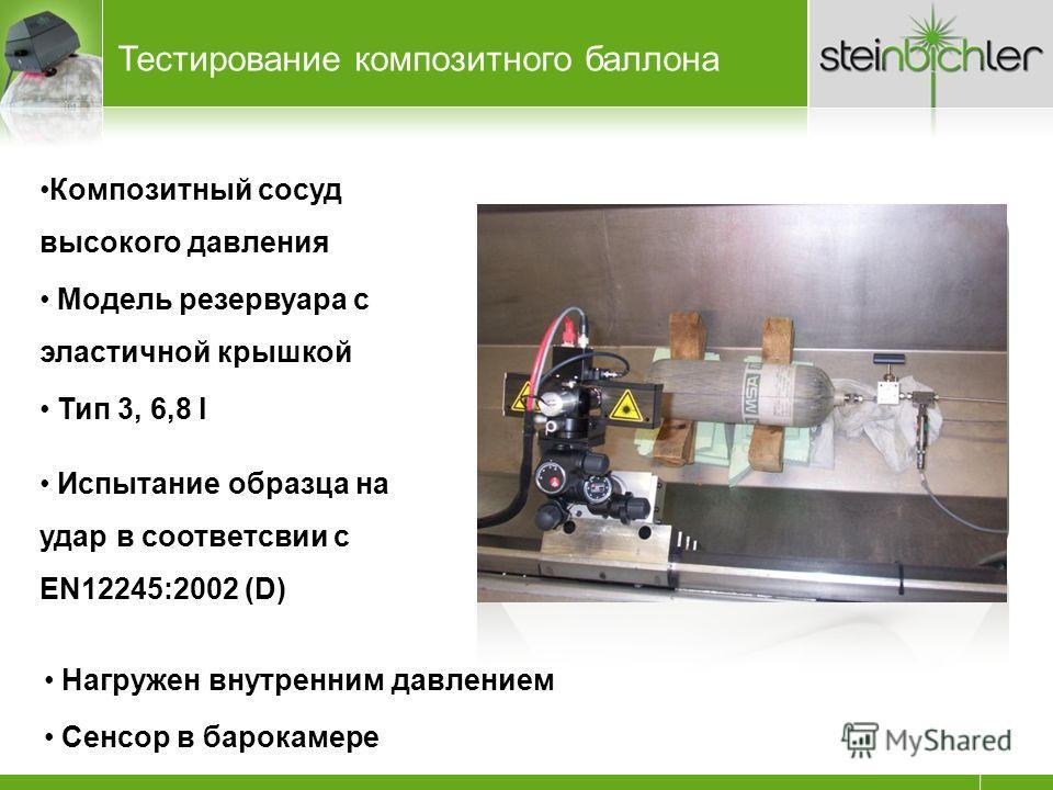 Тестирование композитного баллона Композитный сосуд высокого давления Модель резервуара с эластичной крышкой Тип 3, 6,8 l Испытание образца на удар в соответсвии с EN12245:2002 (D) Нагружен внутренним давлением Сенсор в барокамере