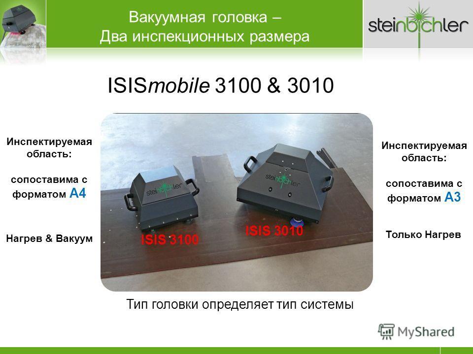 ISISmobile 3100 & 3010 Тип головки определяет тип системы ISIS 3100 ISIS 3010 Инспектируемая область: сопоставима с форматом A4 Инспектируемая область: сопоставима с форматом A3 Нагрев & Вакуум Только Нагрев Вакуумная головка – Два инспекционных разм