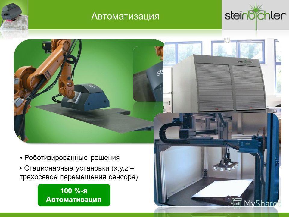 Роботизированные решения 100 %-я Автоматизация fully contactless with thermal loading Автоматизация Стационарные установки (x,y,z – трёхосевое перемещения сенсора)