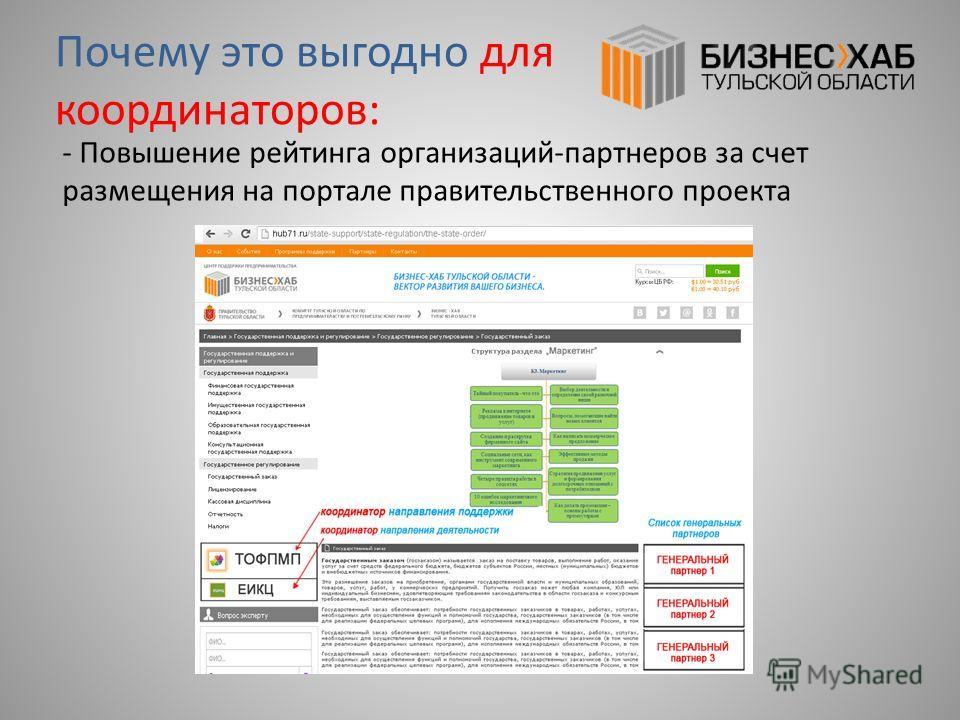 - Повышение рейтинга организаций-партнеров за счет размещения на портале правительственного проекта Почему это выгодно для координаторов: