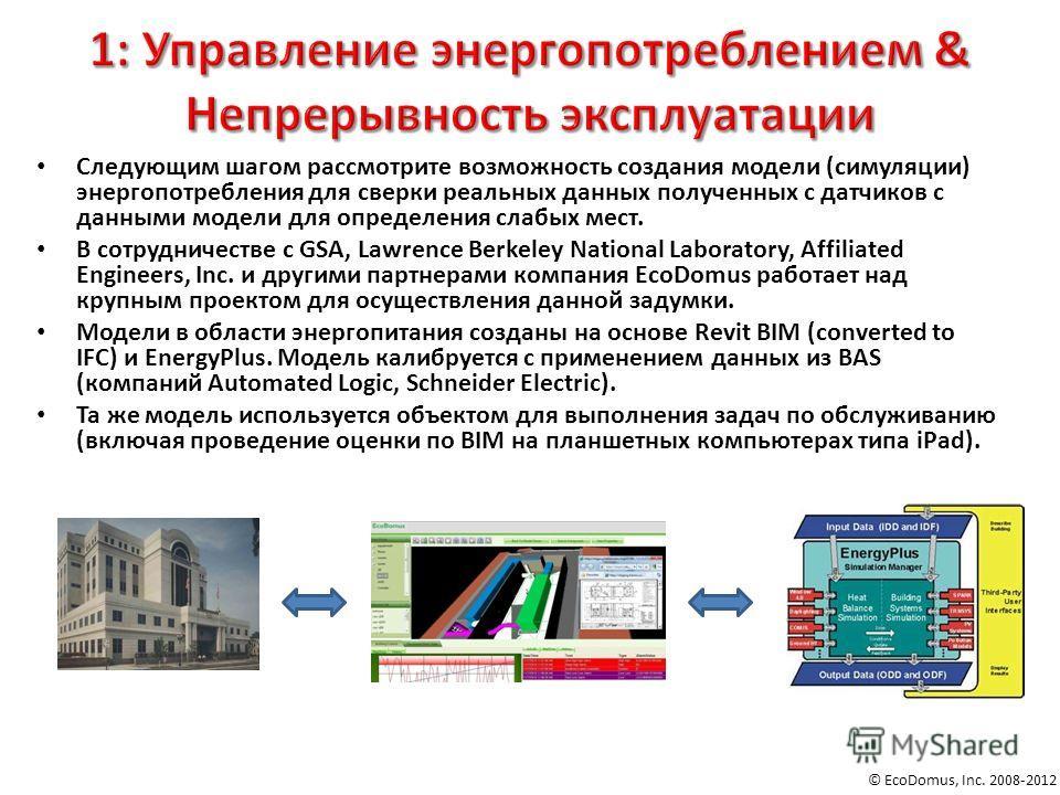 © EcoDomus, Inc. 2008-2012 Следующим шагом рассмотрите возможность создания модели (симуляции) энергопотребления для сверки реальных данных полученных с датчиков с данными модели для определения слабых мест. В сотрудничестве с GSA, Lawrence Berkeley