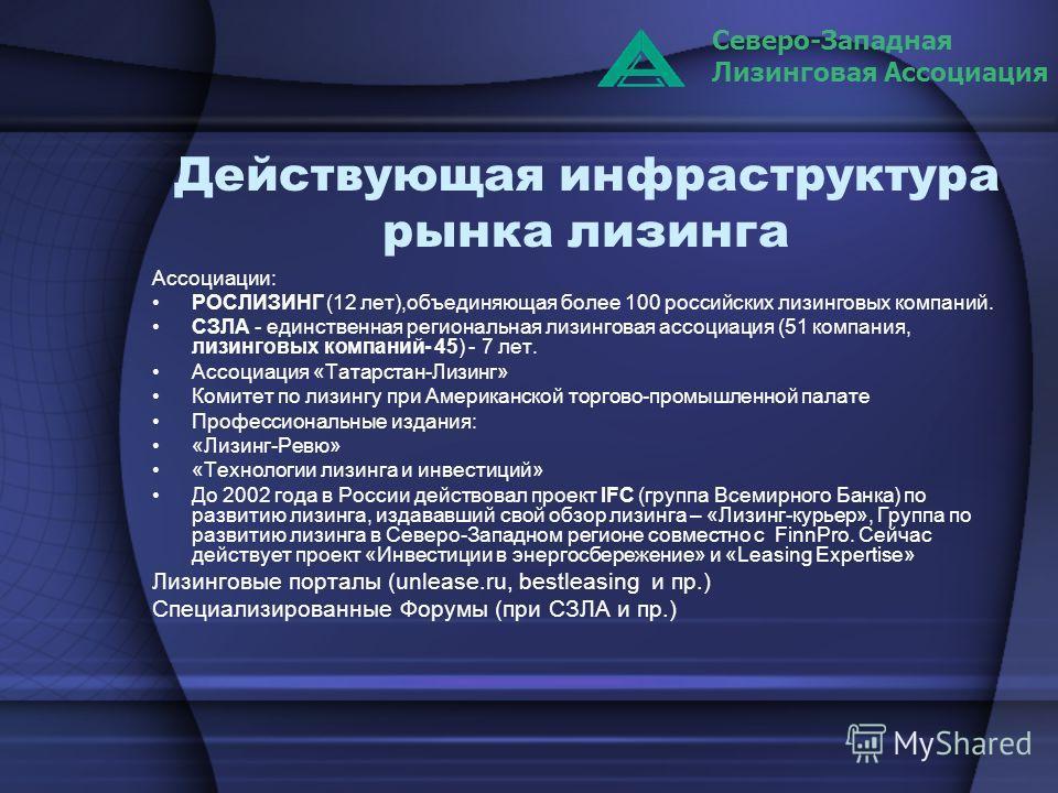 Действующая инфраструктура рынка лизинга Ассоциации: РОСЛИЗИНГ (12 лет),объединяющая более 100 российских лизинговых компаний. СЗЛА - единственная региональная лизинговая ассоциация (51 компания, лизинговых компаний- 45) - 7 лет. Ассоциация «Татарста
