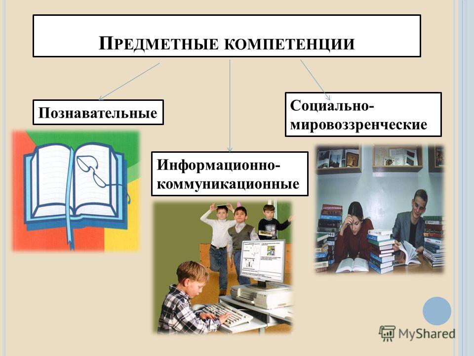 П РЕДМЕТНЫЕ КОМПЕТЕНЦИИ Познавательные Информационно- коммуникационные Социально- мировоззренческие