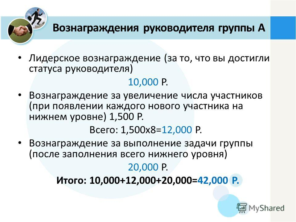 Лидерское вознаграждение (за то, что вы достигли статуса руководителя) 10,000 P. Вознаграждение за увеличение числа участников (при появлении каждого нового участника на нижнем уровне) 1,500 P. Всего: 1,500x8=12,000 P. Вознаграждение за выполнение за