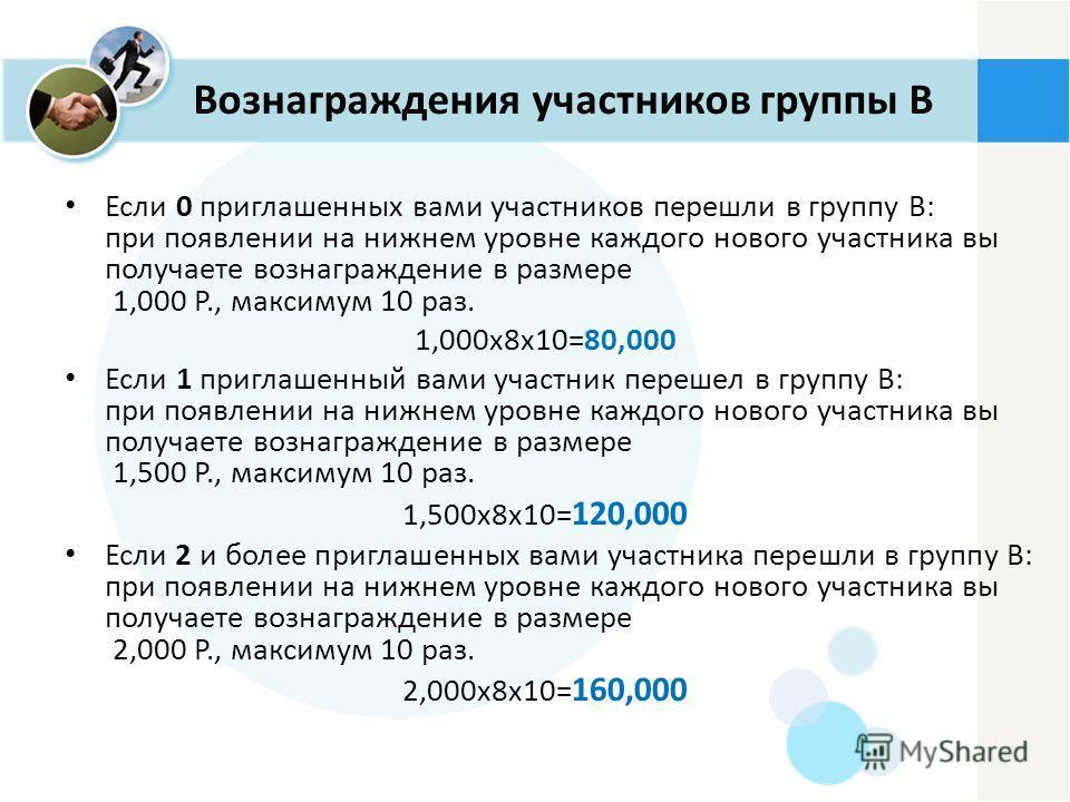 Вознаграждения участников группы B Если 0 приглашенных вами участников перешли в группу В: при появлении на нижнем уровне каждого нового участника вы получаете вознаграждение в размере 1,000 P., максимум 10 раз. 1,000x8x10=80,000 Если 1 приглашенный