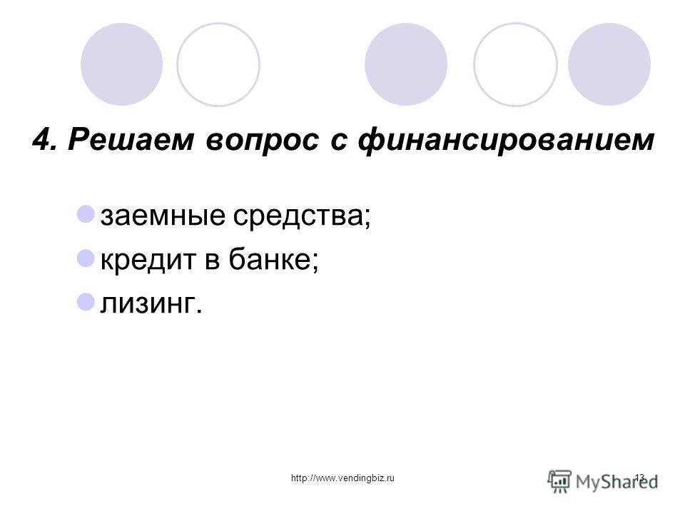 http://www.vendingbiz.ru13 4. Решаем вопрос с финансированием заемные средства; кредит в банке; лизинг.