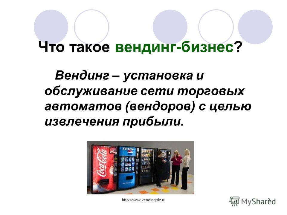 http://www.vendingbiz.ru2 Что такое вендинг-бизнес? Вендинг – установка и обслуживание сети торговых автоматов (вендоров) с целью извлечения прибыли.