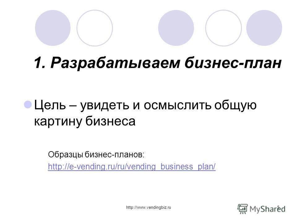 http://www.vendingbiz.ru5 1. Разрабатываем бизнес-план Цель – увидеть и осмыслить общую картину бизнеса Образцы бизнес-планов: http://e-vending.ru/ru/vending_business_plan/