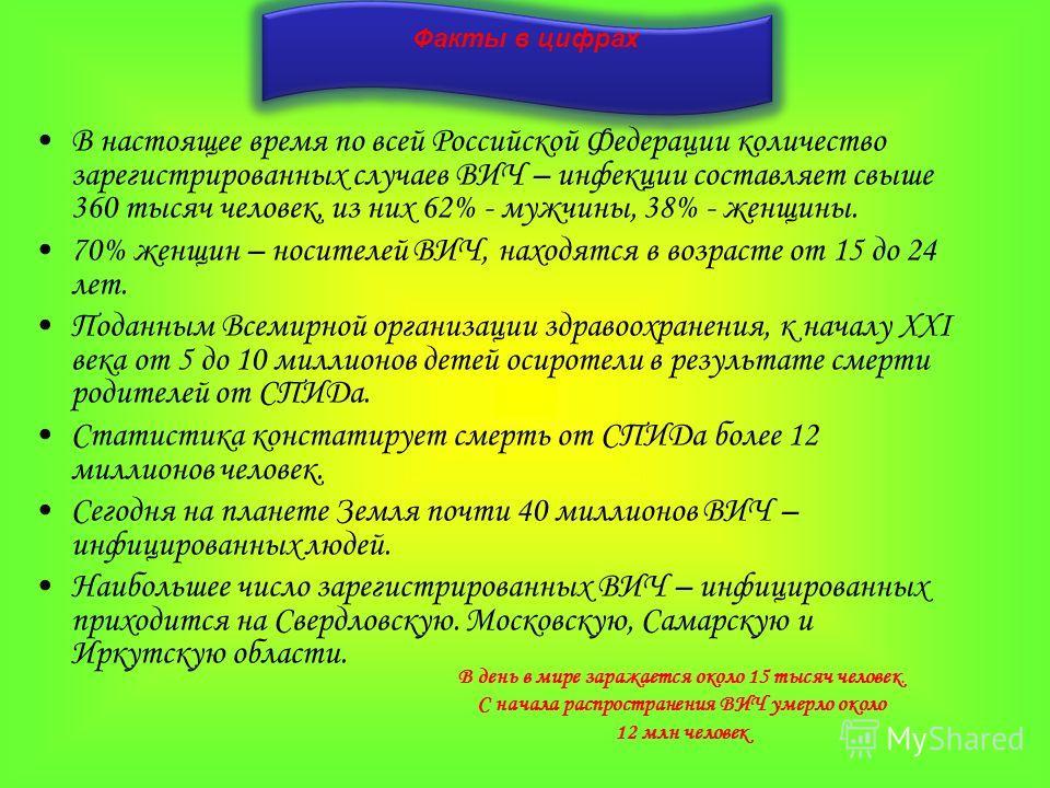 Факты в цифрах В настоящее время по всей Российской Федерации количество зарегистрированных случаев ВИЧ – инфекции составляет свыше 360 тысяч человек, из них 62% - мужчины, 38% - женщины. 70% женщин – носителей ВИЧ, находятся в возрасте от 15 до 24 л