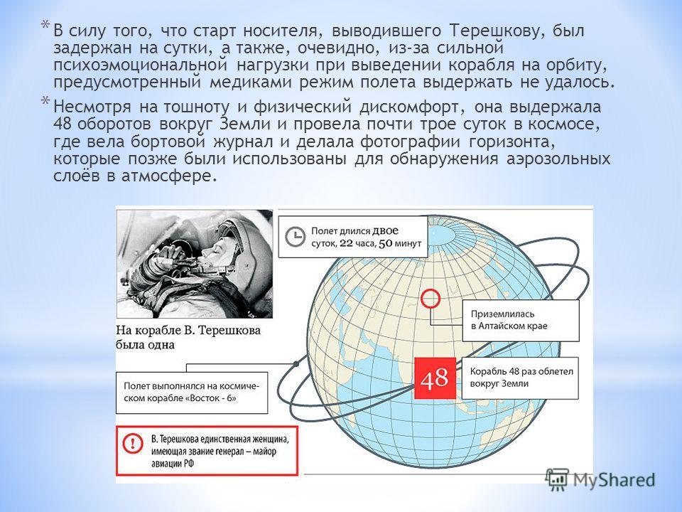 * В силу того, что старт носителя, выводившего Терешкову, был задержан на сутки, а также, очевидно, из-за сильной психоэмоциональной нагрузки при выведении корабля на орбиту, предусмотренный медиками режим полета выдержать не удалось. * Несмотря на т