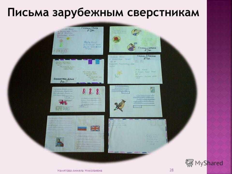 Письма зарубежным сверстникам 28 Намятова Анжела Николаевна