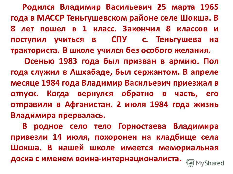 Родился Владимир Васильевич 25 марта 1965 года в МАССР Теньгушевском районе селе Шокша. В 8 лет пошел в 1 класс. Закончил 8 классов и поступил учиться в СПУ с. Теньгушева на тракториста. В школе учился без особого желания. Осенью 1983 года был призва