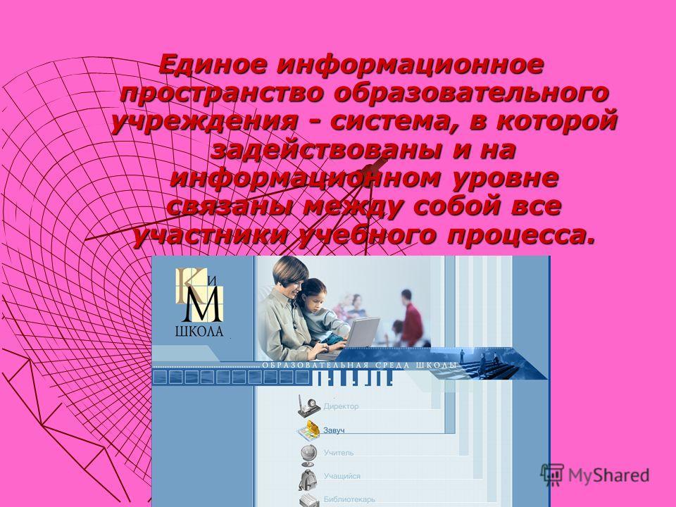 Единое информационное пространство образовательного учреждения - система, в которой задействованы и на информационном уровне связаны между собой все участники учебного процесса.