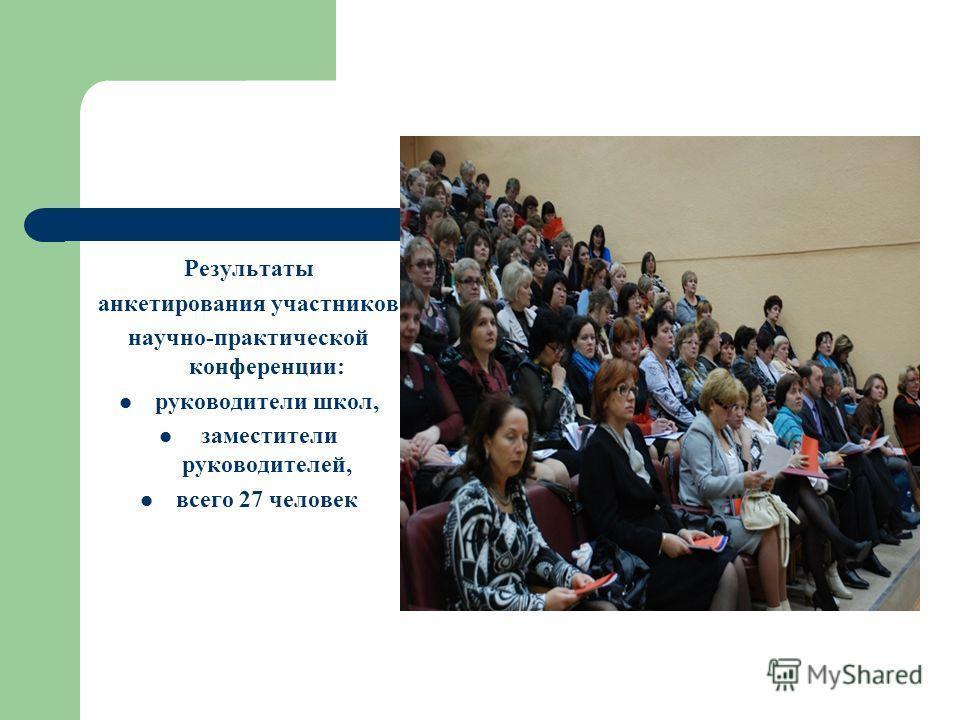 Результаты анкетирования участников научно-практической конференции: руководители школ, заместители руководителей, всего 27 человек