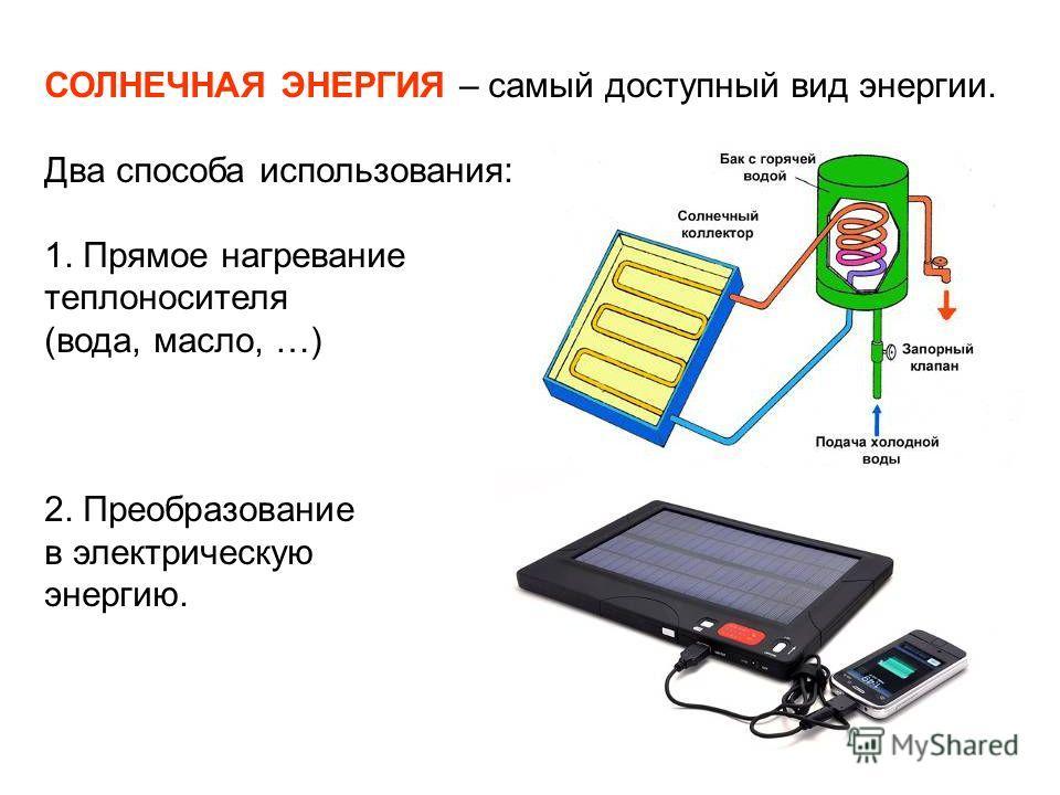 СОЛНЕЧНАЯ ЭНЕРГИЯ – самый доступный вид энергии. Два способа использования: 1. Прямое нагревание теплоносителя (вода, масло, …) 2. Преобразование в электрическую энергию.