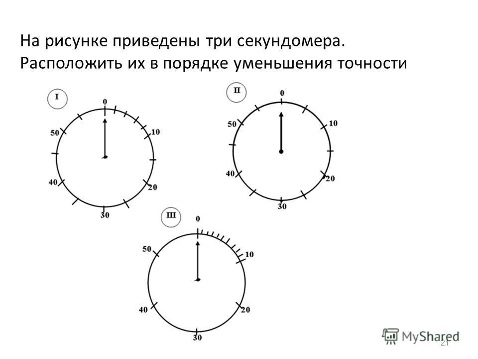 21 На рисунке приведены три секундомера. Расположить их в порядке уменьшения точности