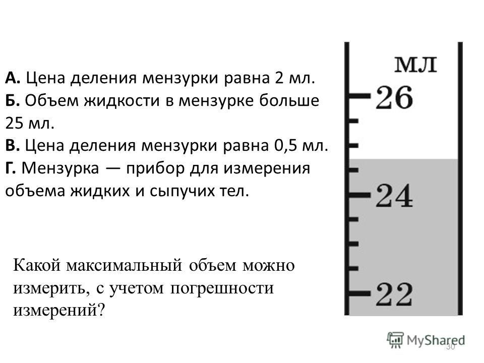 30 А. Цена деления мензурки равна 2 мл. Б. Объем жидкости в мензурке больше 25 мл. В. Цена деления мензурки равна 0,5 мл. Г. Мензурка прибор для измерения объема жидких и сыпучих тел. Какой максимальный объем можно измерить, с учетом погрешности изме