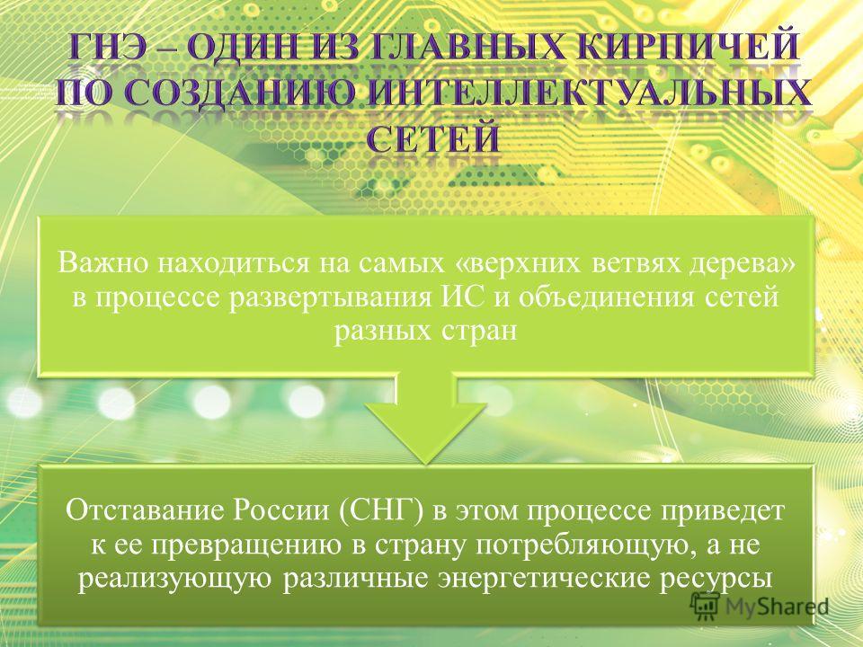 Отставание России (СНГ) в этом процессе приведет к ее превращению в страну потребляющую, а не реализующую различные энергетические ресурсы Важно находиться на самых «верхних ветвях дерева» в процессе развертывания ИС и объединения сетей разных стран