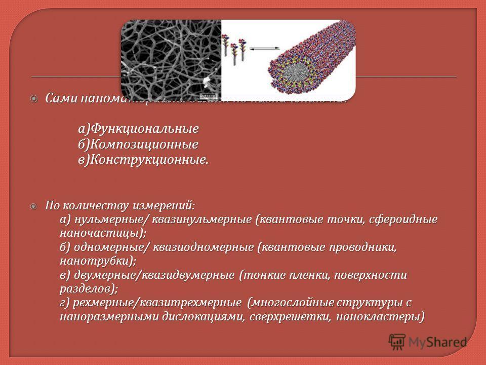 Сами наноматериалы делят по назначению на : Сами наноматериалы делят по назначению на : а ) Функциональные б ) Композиционные в ) Конструкционные. По количеству измерений : По количеству измерений : а ) нульмерные / квазинульмерные ( квантовые точки,