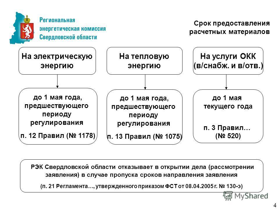 до 1 мая текущего года п. 3 Правил… ( 520) Срок предоставления расчетных материалов На услуги ОКК (в/снабж. и в/отв.) до 1 мая года, предшествующего периоду регулирования п. 12 Правил ( 1178) На электрическую энергию На тепловую энергию до 1 мая года