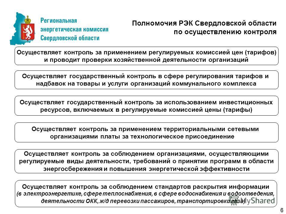 Осуществляет контроль за применением территориальными сетевыми организациями платы за технологическое присоединение Полномочия РЭК Свердловской области по осуществлению контроля Осуществляет государственный контроль за использованием инвестиционных р