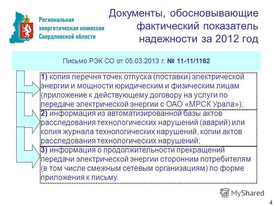 Документы, обосновывающие фактический показатель надежности за 2012 год Письмо РЭК СО от 05.03.2013 г. 11-11/1162 1) копия перечня точек отпуска (поставки) электрической энергии и мощности юридическим и физическим лицам (приложение к действующему дог