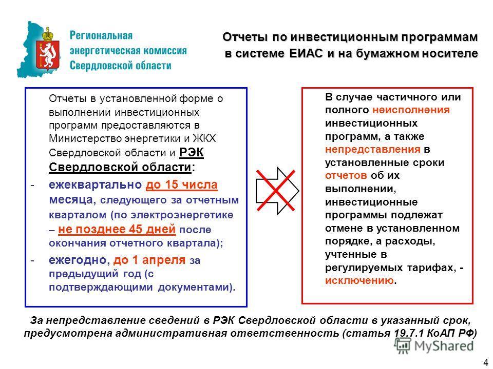 Особенности тарифных решений на 2011 год Отчеты по инвестиционным программам в системе ЕИАС и на бумажном носителе Отчеты в установленной форме о выполнении инвестиционных программ предоставляются в Министерство энергетики и ЖКХ Свердловской области