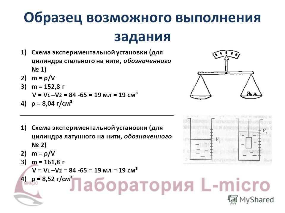 Образец возможного выполнения задания 1)Схема экспериментальной установки (для цилиндра стального на нити, обозначенного 1) 2)m = ρ/V 3)m = 152,8 г V = V 1 –V 2 = 84 -65 = 19 мл = 19 см³ 4)ρ = 8,04 г/см³ 1)Схема экспериментальной установки (для цилин